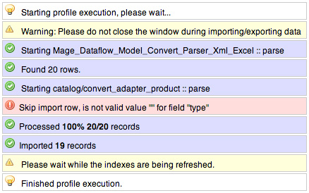 Magento Dataflow Profile Success