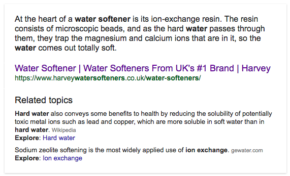 featured snippet related topic