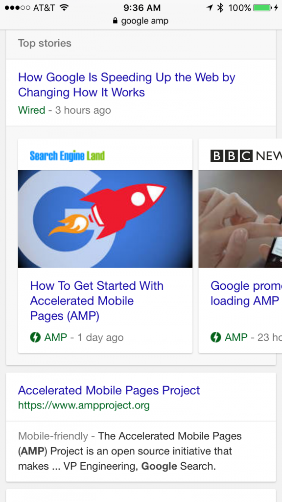 Google AMP Results. Source: Marketing Land