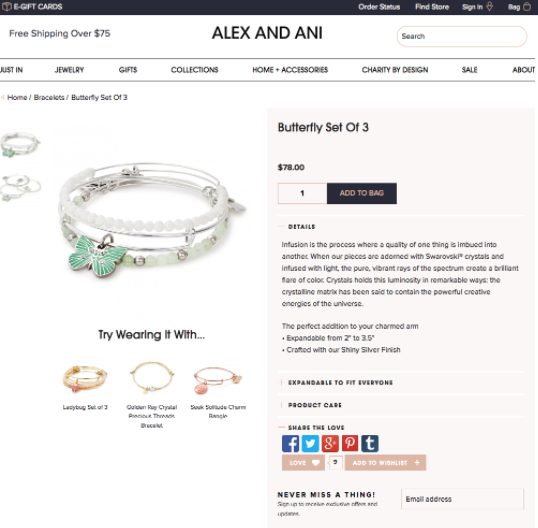 alex and ani product page