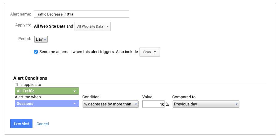 Analytics Alerts Example