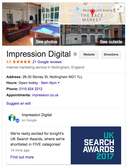 Impression local knowledge panel
