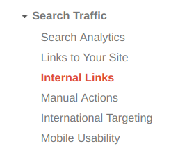 Google Search Console menu screenshot showing where to find the internal link tool