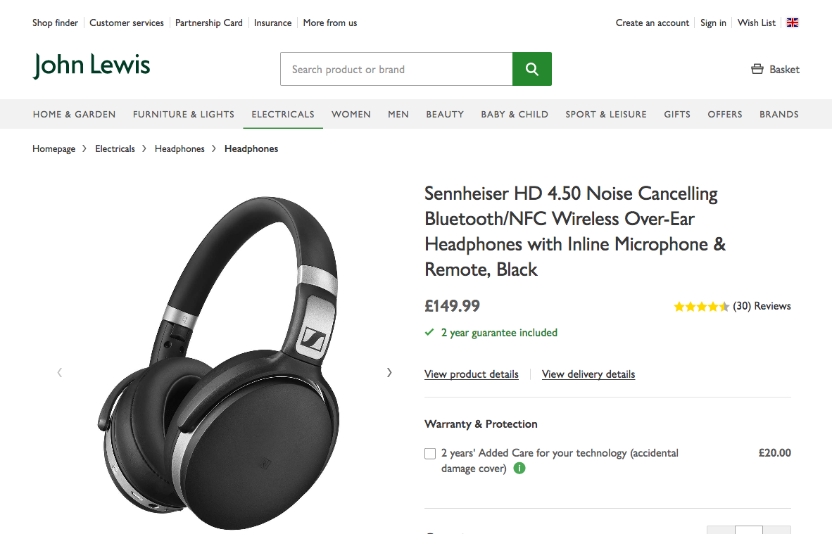 John Lewis headphone product page small viewport