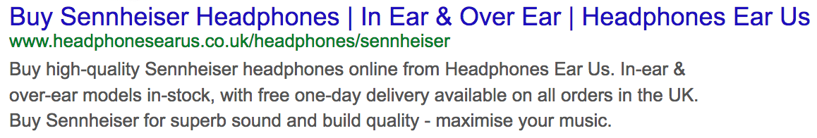 optimised sennheiser headphone organic result