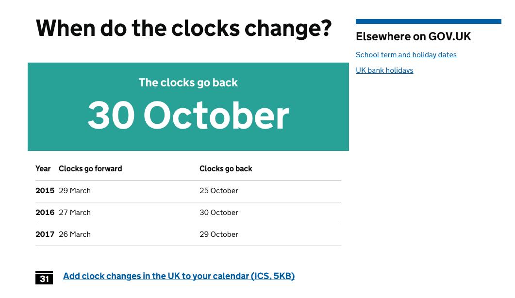 'When do the clocks change?'