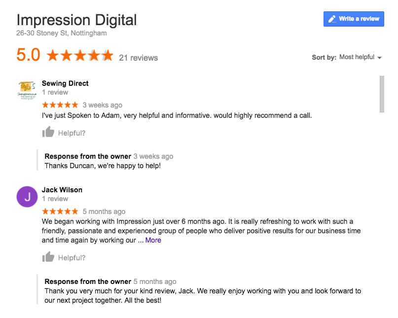 Impression google reviews