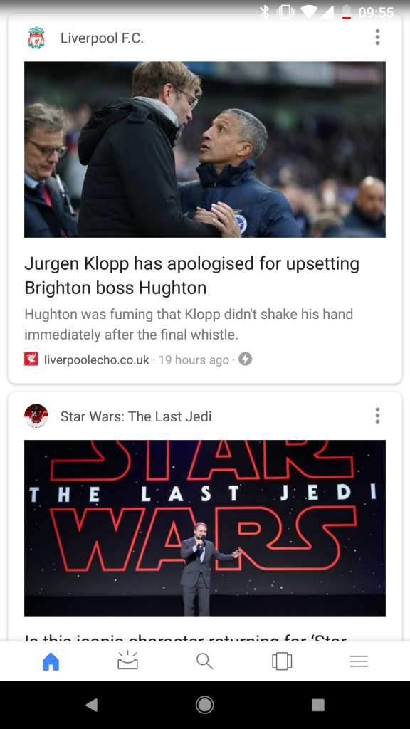 Google feed top stories screenshot