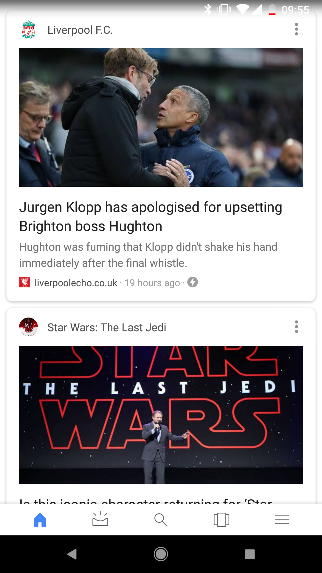 Google feed top stories screenshot