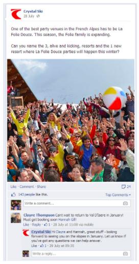 crystal ski social media