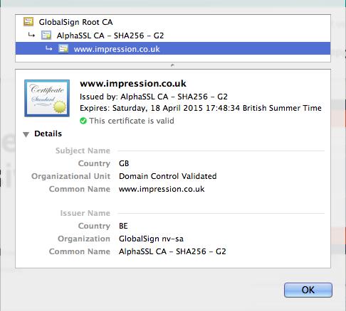 Impression SSL Certificate
