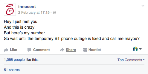 innocent bt outage micro content example
