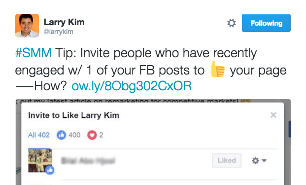 larry kim facebook hidden invite button