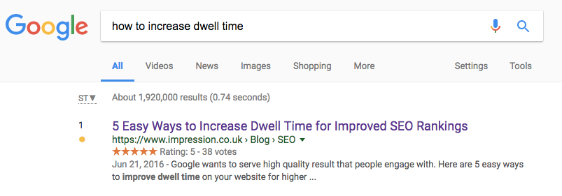 link building dwell time ranking