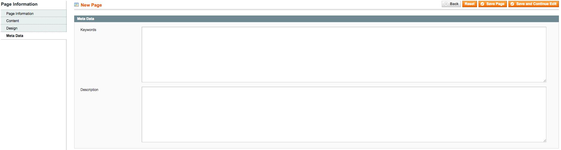 A screenshot of Magento's Meta Data fields