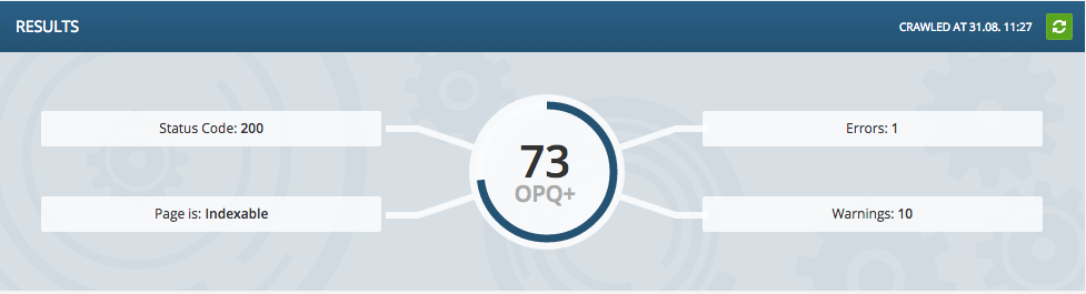A screenshot demonstrating OnPage.org's OPQ score, as featured in their tool, Focus