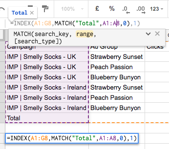Using INDEX MATCH for PPC - Using MATCH to select your row