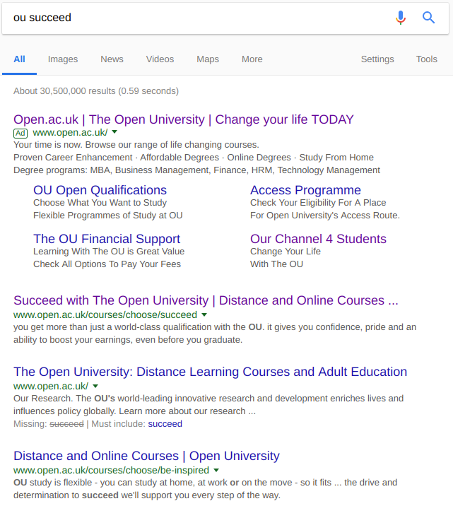 "SERP for ""ou succeess"""