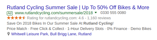ad for Rutland Cycling