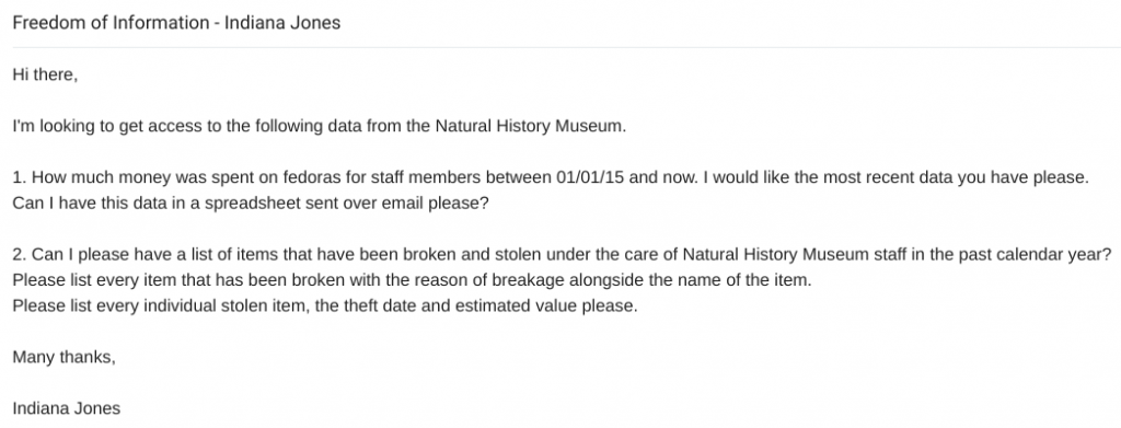 Email example of a freedom of information request