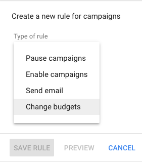 Change budget using rules in Google Ads to increase your Black Friday budgets