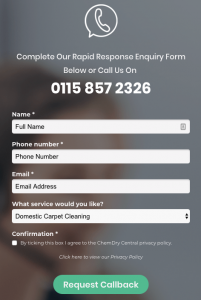 landing page contact form example