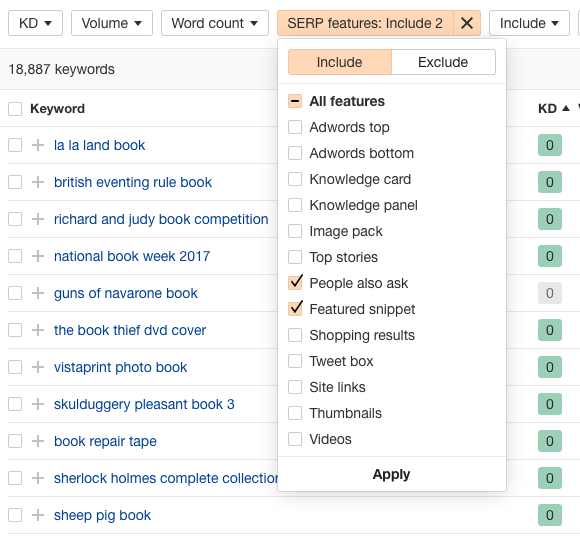 SERP feature list on Ahrefs with featured snippets and people also ask checked to allow me to filter informational keywords.