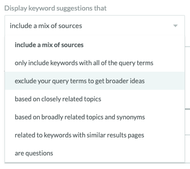 Moz keyword filtering based on phrase inclusion and relevance.