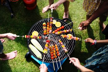 Skewers on a barbeque