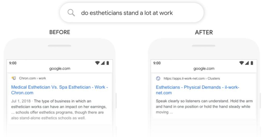 Google BERT example estheticians