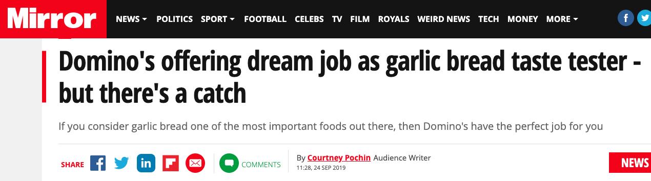 garlic bread taster dream job