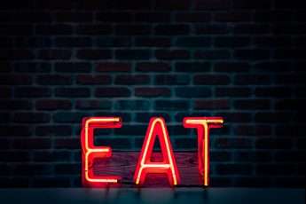 "LED lights that spell ""EAT"""