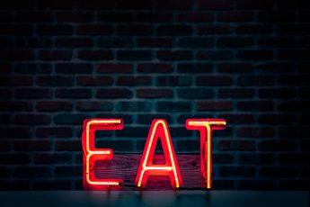"""LED lights that spell """"EAT"""""""