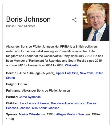 Boris Johnson Knowledge Graph in Google