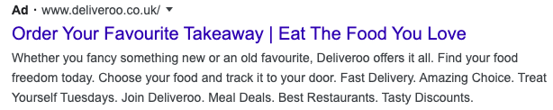 A Deliveroo advert featuring the new ad favicon