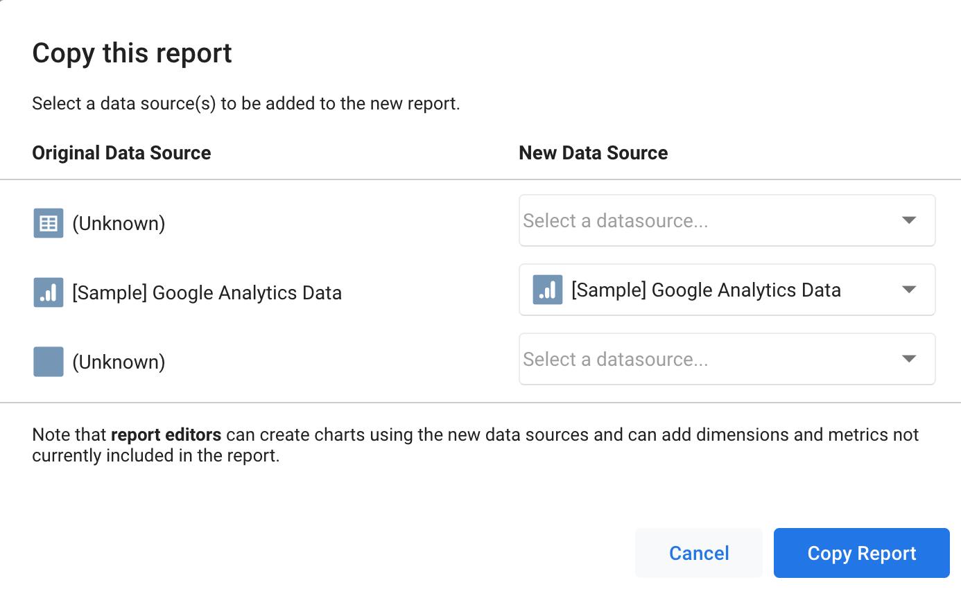 Google Data Studio - Copy this report option