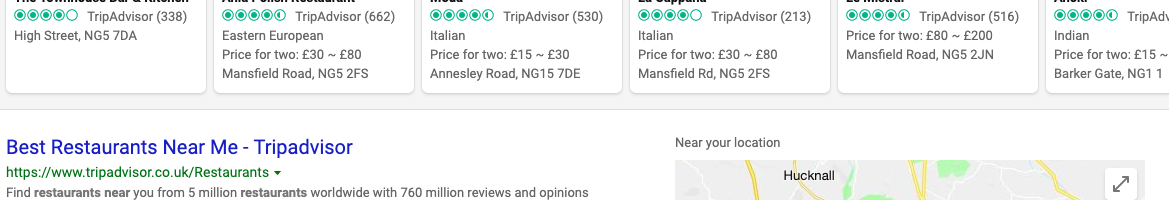 """Bing results for """"restaurants near me"""" with a wide-focus map"""