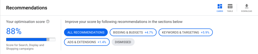 The Google Ads Recommendations Tab