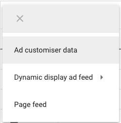 Ad customiser data in the drop down menu